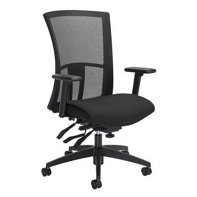 Global Vion High-Back Multi-Tilter Chair, Licorice Black Impact Fabric Seat/Black Mesh Back IMPRINT  GR 4 BLK IM84