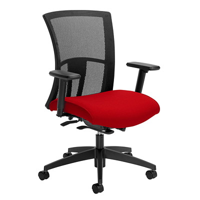 Global Vion Weight-Sensing Synchro-Tilter Mid-Back Chair, Candy Apple Red, Imprint Fabric IMPRINT GR 4 CANDY APPLE IM74