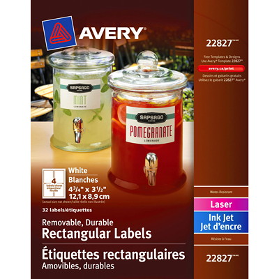 "MOVABLE RECTANGULAR LABELS DURABLE  WHITE  LASER/IJ 3 1/2"" X 4 3/4"" 32/PK"
