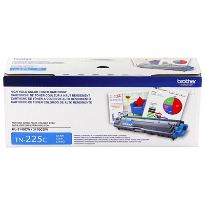Brother Cyan High Yield Laser Toner Cartridge (TN225C) HL-3140CW  3170CDW  MFC-9130CW MFC-9330CDW 9340CDW YIELD 2200