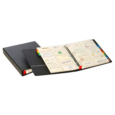 Cardinal EasyOpen Card File 3-Ring Binder BLK  INCL.20 CLEAR INSERT PGS 20CARDS/PG - REFILL # 64215-0