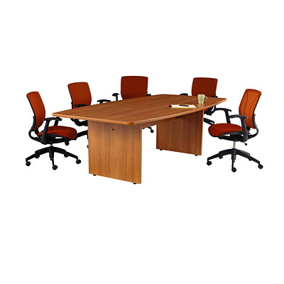 Offices To Go Ionic Boat-Shaped Conference Room Table BOATSHAPED -WINTER CHERRY