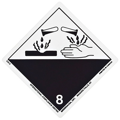 """TDG Regulation Labels, White/Black, Non-Worded, Corrosive, 4"""" x 4"""", 500 Labels/PK 4""""X4""""  GLOSS  ROLL OF 500"""