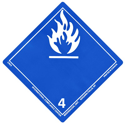 "TDG Regulation Labels, Blue with White, Non-Worded, Dangerous When Wet, 4"" x 4"", 500 Labels/PK 4""X4""  GLOSS  ROLL OF 500"
