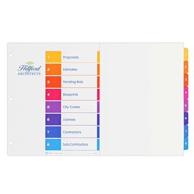 "Avery Tabloid-Size (11"" x 17"") Ready Index Table of Contents Dividers With Multi-Coloured Tabs MULTI COLOUR  8 TAB  11X17 30% PCW RECYCLED CONTENT"
