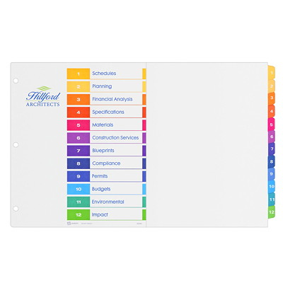"Avery Tabloid-Size (11"" x 17"") Ready Index Table of Contents Dividers With Multi-Coloured Tabs MULTI COLOUR  12 TAB  11X17 30% PCW RECYCLED CONTENT"
