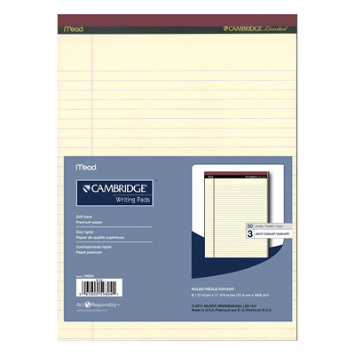Cambridge Coloured Office Pads WIDE RULED 50SHT 20#