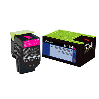 Lexmark 801SM Magenta Standard Yield Return Program Toner Cartridge (80C1SM0) RETURN PROGRAM TONER CARTRIDGE 2000 PAGE YIELD