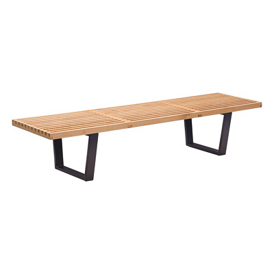 "Zuo Modern Heywood Triple Bench NAT WOOD&STEEL BLK-ASMBLY REQD 14""H X 70 1/2""W X 15""D"