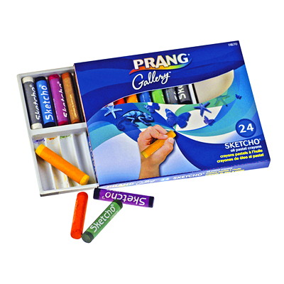 "Prang Sketcho Oil Pastel Crayons 24 ASST COLOURS ROUND STICKS 2 1/2"" X 1/2"""
