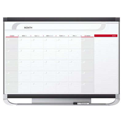 "Quartet Prestige 2 Magnetic 1-Month Dry-Erase Whiteboard Calendar, 36"" x 24"", English PRESTIGE 2 CALENDAR BOARDS"