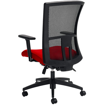 Global Vion High-Back Multi-Tilter Chair, Candy Apple Red Impact Fabric Seat/Black Mesh Back IMPRINT GR 4 CANDY APPLE IM74