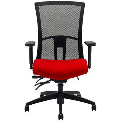 Global Vion Mid-Back Multi-Tilter Chair, Candy Apple Red Impact Fabric Seat/Black Mesh Back IMPRINT GR 4 CANDY APPLE IM74