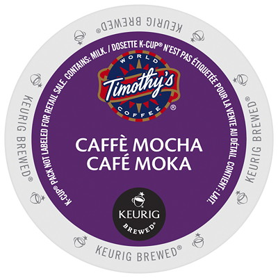 Timothy's Caffè Mocha Latte K-Cup Pods, Single-Serve, Box of 24 24PK