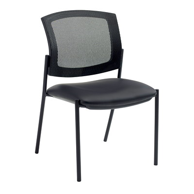 Offices To Go Ibex Armless Guest Chair, Black, Bonded Leather Seat/Mesh Back BONDED LEATHER SEAT