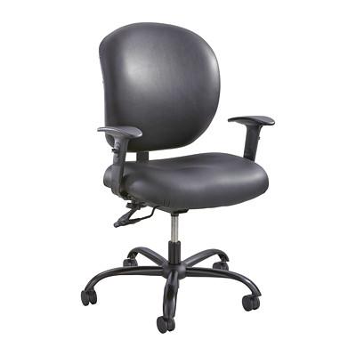 Safco Alday Intensive-Use Ergonomic Task Chair, Black, Vinyl  POSTURE LOCK  500LB WT CAP BLACK VINYL