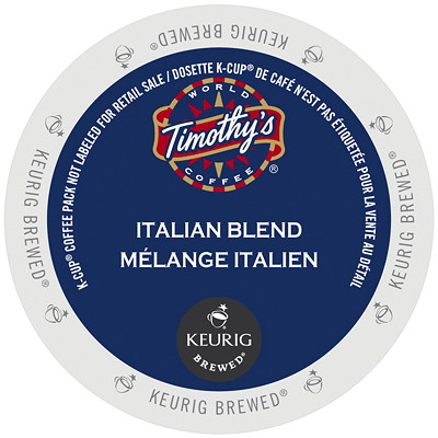 Timothy's Single-Serve Coffee K-Cup Pods, Italian Blend, 24/BX