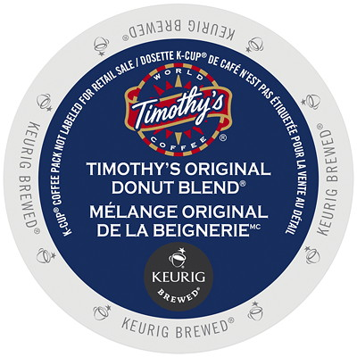Timothy's Original Donut Blend K-Cup Coffee Pods, Single-Serve, Box of 24