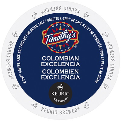 Timothy's Colombian Excelencia K-Cup Coffee Pods, Single-Serve, Box of 24 KCUP 24/BX   USE WITH KEURIG BK145  KB200 AND KB155