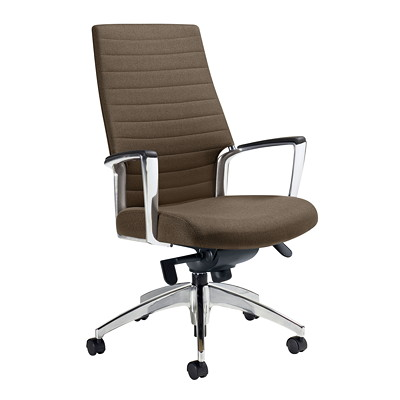 Global Accord High-Back Knee-Tilter Chair, Slate Vitality Vinyl Fabric VITALITY VINYL FABRIC BUILT-IN TENSION DEVICE