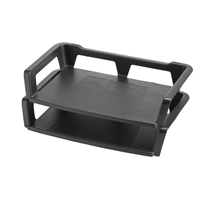 Storex Recycled Self-Stacking Desk Trays 100% POST CONSUMER - BLACK LETTER 2 PK