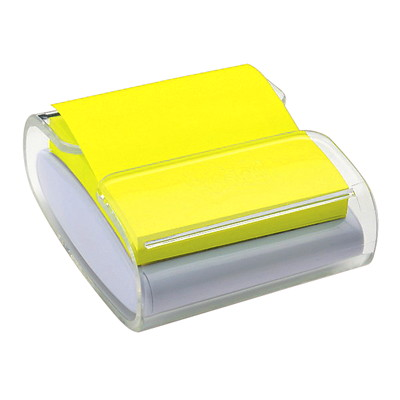 "Post-it 3"" x 3"" Pop-Up Note Clear Dispenser with Canary Yellow Notes WHITE WITH CLEAR TOP W FOR 3""X3"" NOTES"
