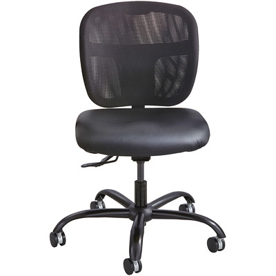 Safco Vue Intensive Task Chair, Black, Vinyl Seat/Mesh Back  24/7 USE  500 LB CAPACITY MESH BACK  BLACK VINYL SEAT