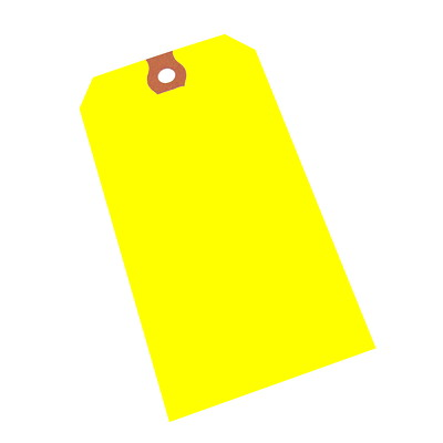 "Crownhill Packaging Blank Shipping Tags YELLOW 4-3/4X2-3/8"" 10PT 1000/CS - 1/4"" HOLE"