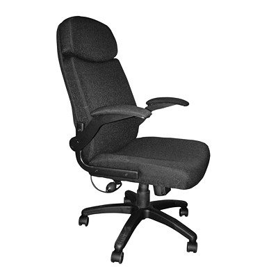 Mayline Comfort Series Big & Tall Pivot Arm Chair SUPPORTS UP TO 500 LBS BLACK FABRIC