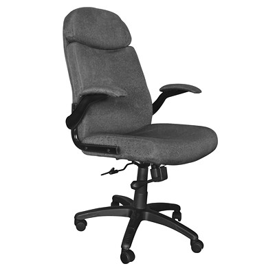 Mayline Comfort Series Big & Tall Pivot Arm Chair SUPPORTS UP TO 500 LBS GRAY FABRIC