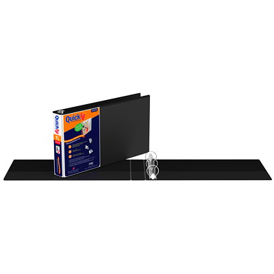 "Davis Group QuickFit Deluxe Heavy-Duty Spreadsheet Landscape View Legal-Size (8 1/2"" x 14"") Black 1 1/2"" Round-Ring Binder ROUND RING  USE ONE FULL SIZE SHEET FOR SPINE & COVER"