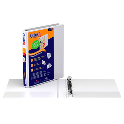 """Davis Group 1"""" QuickFit View Letter-size Round-Ring Presentation Binder RING  OVERALY USES LETTR SIZE PAPER FOR CUSTOM INSERT"""
