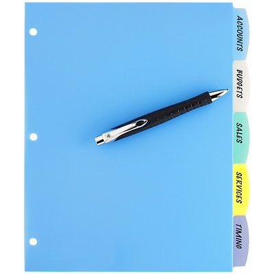 Avery Big Tab Write & Erase Plastic Dividers, Multi-Coloured, Letter-Size, 5-Tabs/ST, 1-Set/PK REFERENCE DIVIDERS 1 SET/PKG
