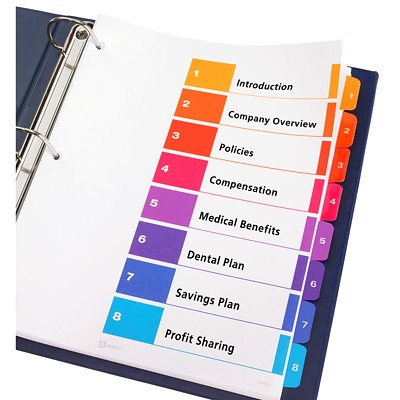 Avery Ready Index Customizable Table of Contents Dividers, Multi-Coloured, Numbered (1-8), Letter-Size, 8 Tabs/ST, 1 Set/PK FR BINDR REINFORCD TABS&HOLES INKJET & LASER AVERY  20% PCW