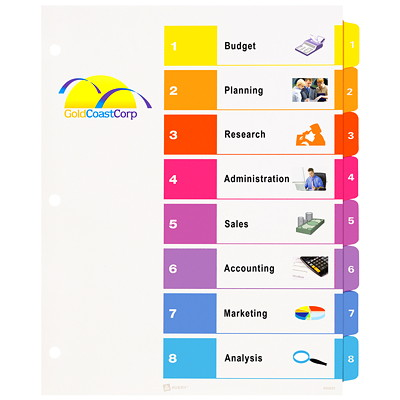 Avery Ready Index Customizable Table of Contents Dividers, Multi-Coloured, Numbered (1-8), Uncollated, Letter-Size, 8 Tabs/ST, 25 Sets/BX 25 UNCOLLATED SETS 20% PCW
