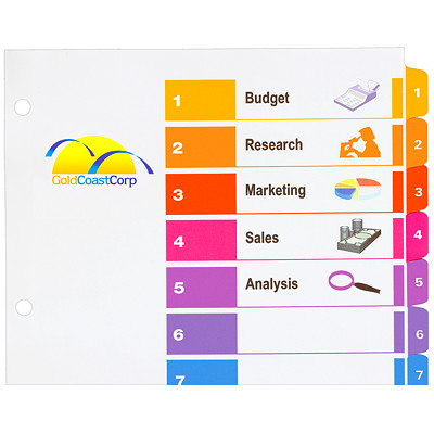 Avery Ready Index Customizable Table of Contents Dividers, Multi-Coloured, Numbered (1-12), Letter-Size, 12 Tabs/ST, 1 Set/PK TABLE OF CONTENTS MULTICOLOUR 12 TABS