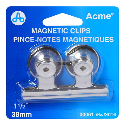 Westcott Magnetic Binder Clips CHROME PLATED  2/CARD