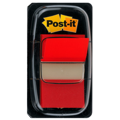 Languettes adhésives Post-it, rouge, 1po x 17/10po, 50 languettes AMOVIBLES TRANSP.MARQUENT SANS MASQUER  50/DISTRIB.