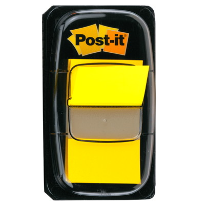 "Post-it Standard Flags, Yellow, 1"" x 1 7/10"", 50/PK REMOVABLE TRANSPARENT TO MARK YOUR PLACE 50/DISPENSER"