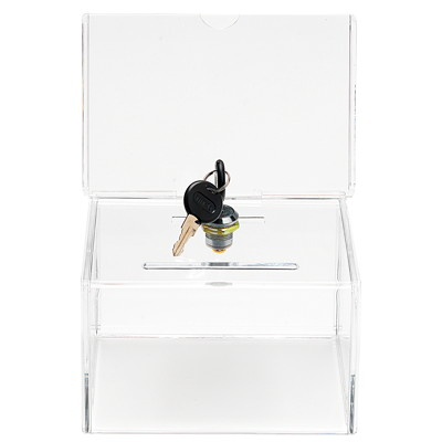 "Deflecto Clear Locking Coin and Ballot Box LOCK  CLEAR WITH SIGN HOLDER 6-3/8""W X 8""H X 4-1/4""D"