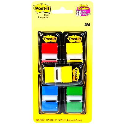 Languettes adhésives Post-it, couleurs variées, 1po x 17/10po, emb. de 250 1PO 4 COULEURS ASSORTIES AVEC UN BLOC JAUNE EN PRIME