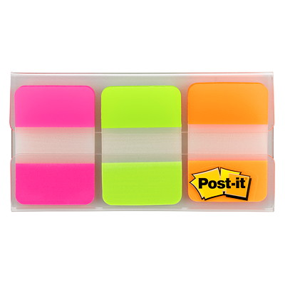 """Post-it Durable Tabs, Fluorescent Pink/Green/Orange, 1"""" x 1/2"""", 22 Tabs/Colour, 66 Tabs/PK PINK GREEN ORANGE 22 OF EACH IN A PAD"""