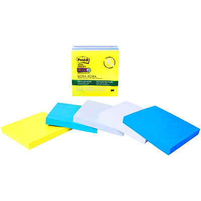 "Post-it Super Sticky Recycled Notes in Bora Bora Colour Collection, Unlined, 3"" x 3"", 90 Sheets/Pad, 5 Pads/PK BORA BORA COLOUR COLLECTION"