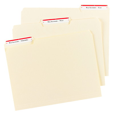 "Avery 5066 Filing Labels With TrueBlock Technology, White with Red Top Bar, 3 7/16"" x 2/3"", 30 Labels/Sheet, 20 Sheets/PK 3-7/16X2/3 30 LABELS/SHEET COLOUR BAR AVERY 20 SHEETS/PK"