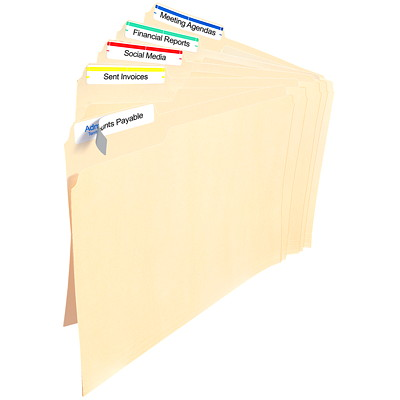 "Avery 5266 Filing Labels With TrueBlock Technology, White with Assorted Coloured Top Bar, 3 7/16"" x 2/3"", 30 Labels/Sheet, 20 Sheets/PK ASSORTED COLOUR BAR 30LBL/SHEET AVERY 20 SHEETS/PK"