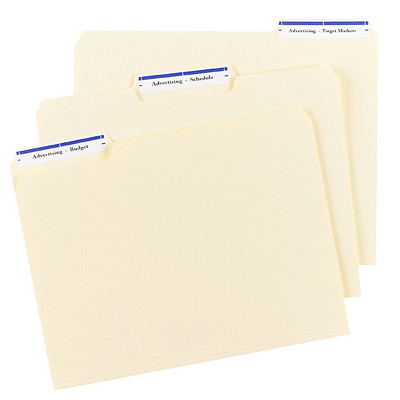"""Avery 5766 Filing Labels With TrueBlock Technology, White with Blue Top Bar, 3 7/16"""" x 2/3"""", 30 Labels/Sheet, 20 Sheets/PK 3-7/16X2/3 30 LABELS/SHEET COLOUR BAR AVERY 20 SHEETS/PK"""