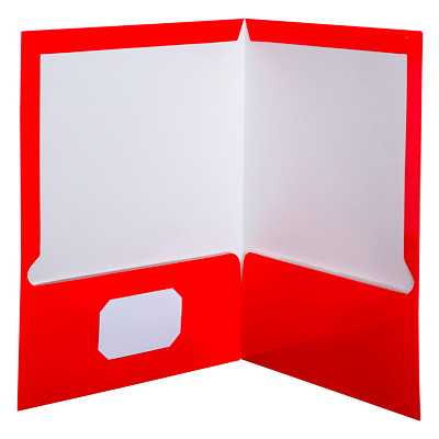 Oxford Showfolio Laminated Twin-Pocket Folders GLOSS RED LETTER