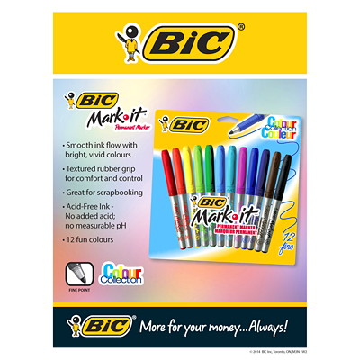 Bic Mark-It Permanent Ink Markers 12PK FINE POINT