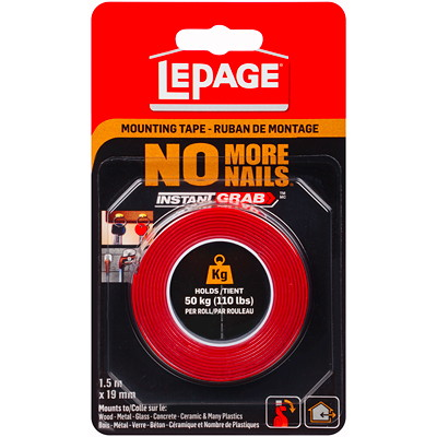 LePage No More Nails Double-Sided Permanent Tape DOUBLE SIDED 0.75X60IN INDOOR AND OUTDOOR USE