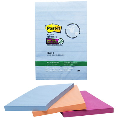 "Post-it Super Sticky Recycled Notes In Bali Colour Collection, Lined, 4"" x 6"", 90 Sheets/Pad, 3 Pads/PK 4X6 NATURAL EARTH TONES 3 PADS PER PACK  SFI CERTIFIED"